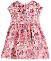 Fendi Cap-Sleeve Smocked Monster Dress, Fuchsia, Size 6-8