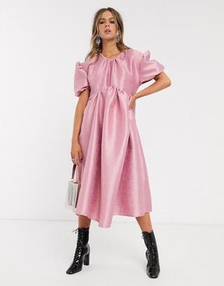 Sister Jane midi smock dress with volume sleeve in jacquard