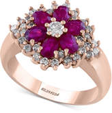 Effy Final Call Ruby (1-3/8 ct. t.w.) and Diamond (5/8 ct. t.w.) Flower Ring in 14k Rose Gold