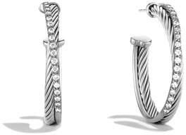 David Yurman Crossover Hoop Earrings with Diamonds