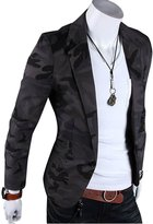 DressLoves Men's Cotton Notched Camouflage Print Single Button Blazers Large