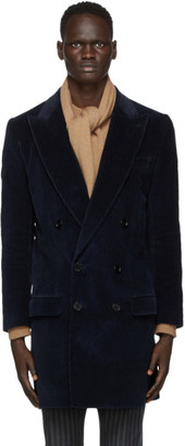 Dolce & Gabbana Navy Corduroy Double-Breasted Coat