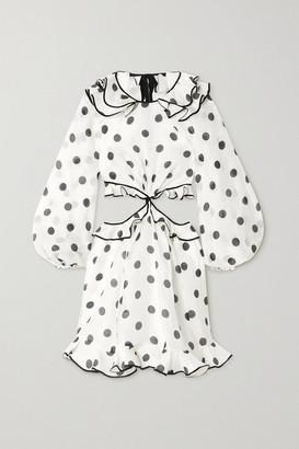 Zimmermann The Lovestruck Polka-dot Linen And Silk-blend Organza Mini Dress - White