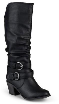 Brinley Co. Women's Wide Calf Slouch Buckle High Heel Boots