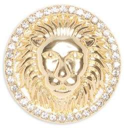 Vince Camuto Goldtone and Glass Stone Lion Head Brooch Pin