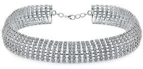 Bling Jewelry Crystal Bridal Wedding Prom Holiday Choker .63 inch Wide Necklace