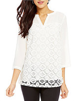 Investments Petites 3/4 Sleeve Lace Front Blouse