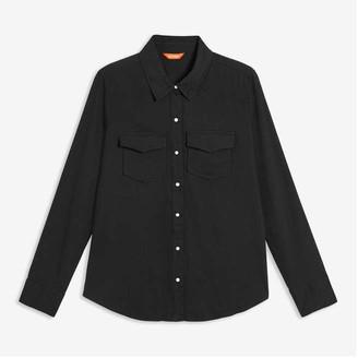 Joe Fresh Women's Snap-Button Shirt, JF Black (Size M)