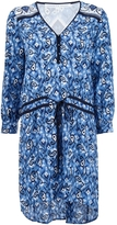 Veronica Beard Venice V-Neck Tie Waist Dress - Blue