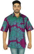 KOKOM Men's Short Sleeve Cotton Floral Button Down Men Casual Wear Printed Shirts