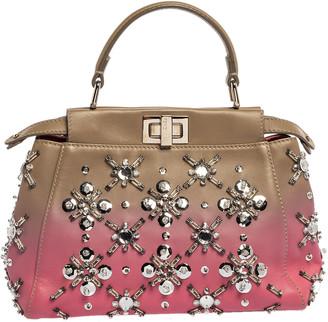 Fendi Pink/Beige Ombre Leather Mini Peekaboo Crystal Embellished Top Handle Bag