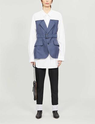 Junya Watanabe Layered loose-fit cotton and wool-blend shirt