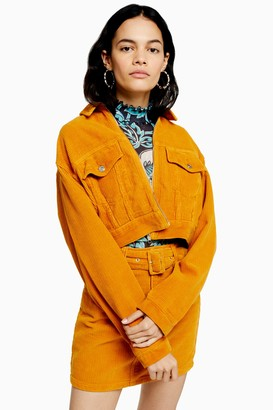 Topshop Womens Considered Mustard Zip Through Corduroy Jacket With Recycled Cotton - Mustard