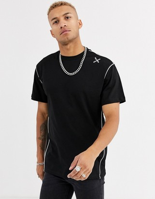 Religion oversized t-shirt with stitch detail in black