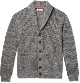 Brunello Cucinelli Shawl-Collar Virgin Wool And Cashmere-Blend Cardigan