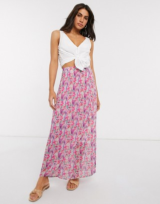 Y.A.S chiffon maxi skirt in pink floral