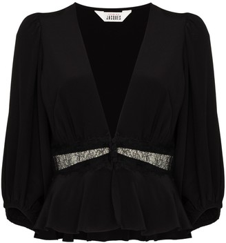 SLEEPING WITH JACQUES lace panelled V-neck blouse