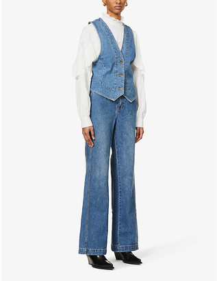 Free People Modern Mead wide-leg high-rise jeans and denim waistcoat