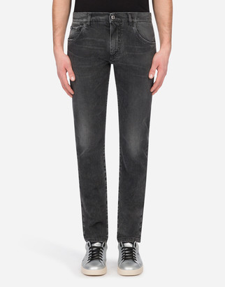 Dolce & Gabbana Washed Gray Skinny Stretch Jeans