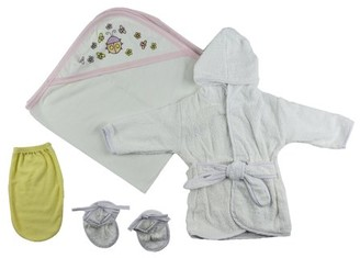 Bambini Girls Infant Robe, Hooded Towel and Washcloth Mitt - 3 Pc Set