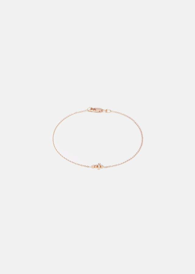 Ileana Makri Mini Cross Diamond Bracelet Rose Gold