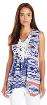 NY Collection Women's Petite Sleeveless Printed Vneck Pullover with Sharkbite Hem