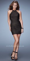 La Femme Open Back Rhinestone Neckline Homecoming Dress