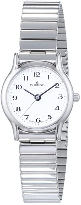 Dugena Women's Quartz Watch with White Dial Analogue Display and Silver Stainless Steel Bracelet