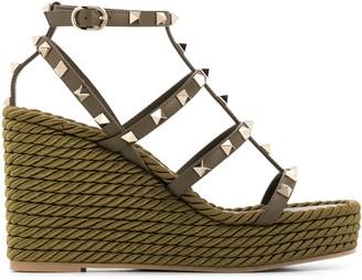 Valentino Rockstud rope wedge sandals