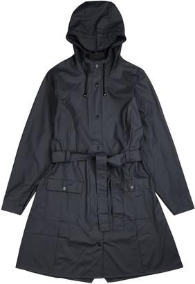 Rains Curve navy rubberised raincoat