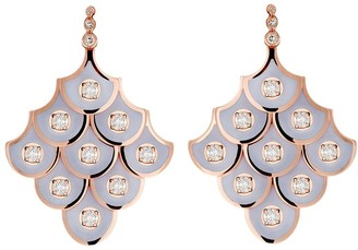 Selim Mouzannar 18kt rose gold Fish For Love enamel and diamond earrings
