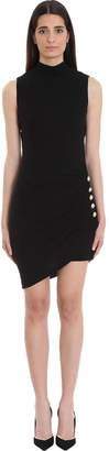 Balmain Pleated Black Jersey Dress
