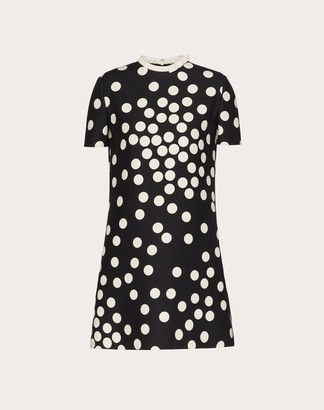 Valentino Short Printed Crepe Couture Dress Women Black/ivory Silk 35%, Virgin Wool 65% 38