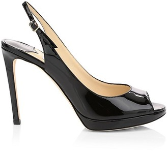 Jimmy Choo Nova Peep-Toe Patent Leather Slingback Platform Pumps