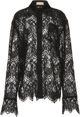 MATÉRIEL Oversized Black Lace Button Down Shirt