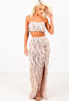 Pink Boutique Stolen Moment Gold Sequin Tassel Maxi Skirt