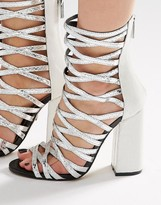 Carvela Goddess Silver Caged Gladiator Heeled Sandals