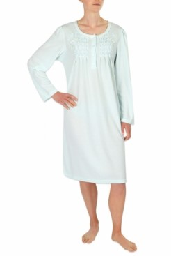 Miss Elaine Embroidered Smocked Knit Nightgown