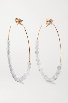 Diane Kordas Star 18-karat Rose Gold, Quartz And Diamond Hoop Earrings - one size