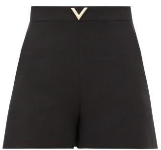 Valentino V-plaque Wool-blend Crepe Shorts - Black
