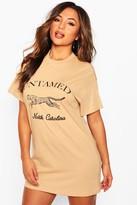 boohoo Petite Slogan Leopard T-Shirt Dress