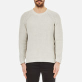 Folk Men's Crew Neck Knitted Jumper Silver/Grey