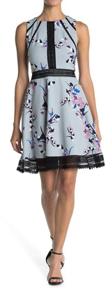 GUESS Floral Print Fit And Flare Dress