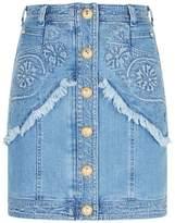 Balmain Embroidered Denim Mini Skirt