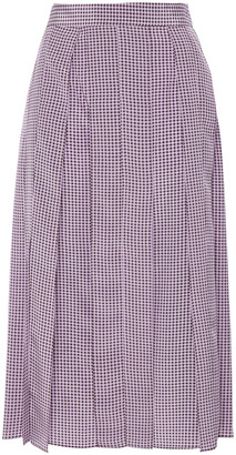 Joseph Charlie Pleated Houndstooth Silk Crepe De Chine Midi Skirt