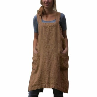 Hailouhai Women 's Apron Dresses Solid Color Cotton Linen Solid Plus Size Square Apron Baking Cooking Gardening Works Cross Back Bib Dress with 2 Pockets (Khaki 5XL)