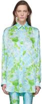 Balenciaga Blue and Green Silk Floral Shirt