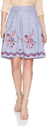 Nine West Women's Embroidered Seersucker Skirt with Detailing