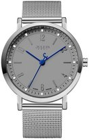Julius Renwangda Men's Brand Gray Mesh Stainless Steel Quartz Analog Waterproof Male Wrist Watch