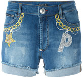 Philipp Plein embroidered denim shorts - women - Cotton/Spandex/Elastane - 25